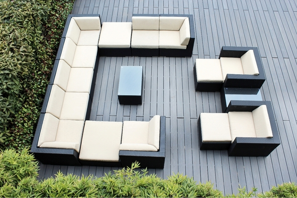 Ohana 16 Piece Outdoor Patio Wicker Furniture Sectional with 4 Ottomans