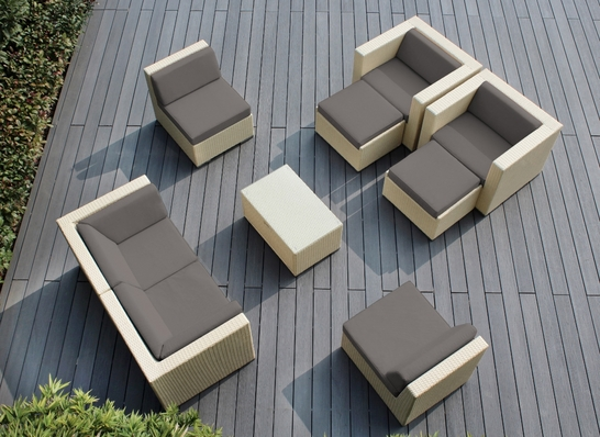 CUSTOM SET: Ohana 9 Piece Outdoor Patio Wicker Furniture Sectional - Customizable Set