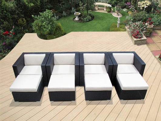 Ohana Outdoor Patio Wicker Furniture - Club Chairs with Ottoman - Set of Four