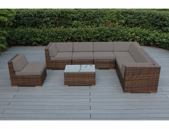Ohana 8 Piece Outdoor Patio Wicker Furniture Sectional Set - Mixed Brown