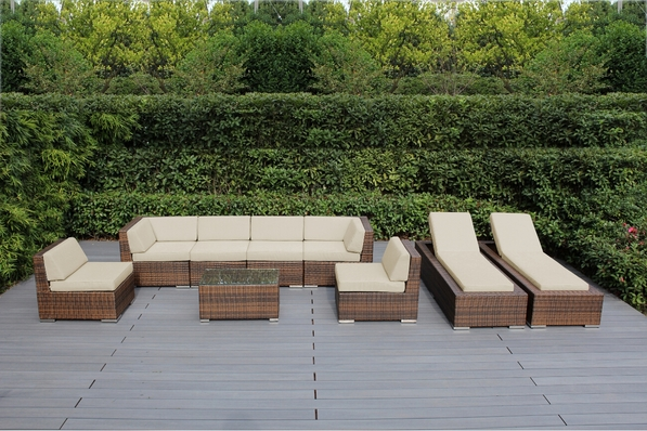 Ohana 9 Piece Outdoor Patio Wicker Furniture Sofa and Chaise Lounge Set -Mixed Brown Wicker