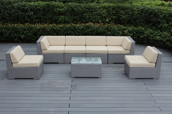 SPEICIAL:Ohana Outdoor Patio  Furniture 7 Piece  Sectional Conversation Set - Gray Wicker
