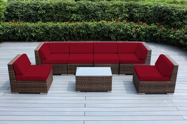 Ohana Outdoor Patio Wicker Furniture 7-Piece Seating Sectional Set - Mixed Brown Wicker
