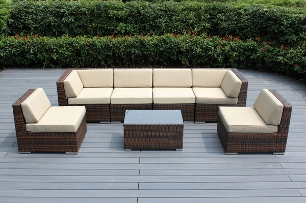 Ohana Outdoor Patio Wicker Furniture 7 Piece Seating Sectional Set Mixed Brown