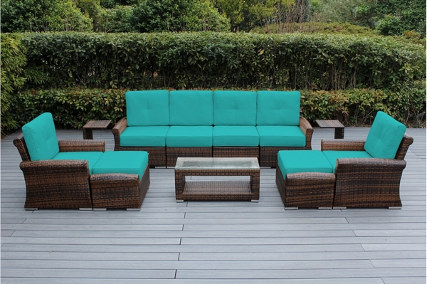 Beautiful Outdoor Patio Wicker Furniture Deep Seating 11 Pc Sofa Set New