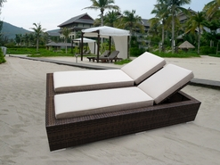 Ohana 2 Piece Outdoor Patio Wicker Furniture Chaise Lounge Set - Mixed Brown Wicker