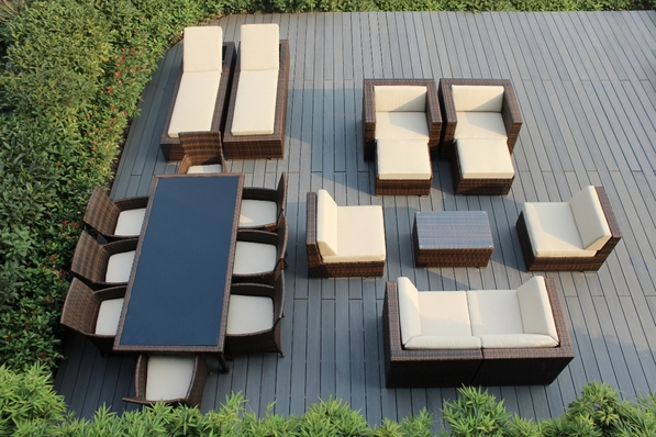 Ohana 20 Piece Outdoor Patio Wicker Furniture Sofa and Dining Set Mixed Brown