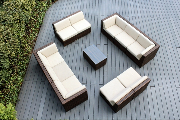 Ohana 11 Piece Outdoor Patio Wicker Furniture Sectional - Mixed Brown Wicker