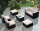 Ohana 16 Piece Outdoor Patio Wicker Furniture Sofa, Dining and 2 Chaise Lounge Set