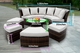Ohana 7 Piece Outdoor Patio Wicker Furniture Round Seating Group with 4 Ottomans