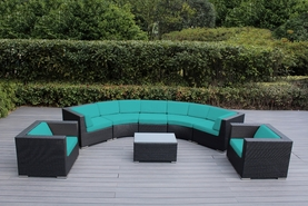 Ohana 8 Piece Outdoor Patio Furniture Sectional Deep Curved Seating Set with 2 Club Chairs