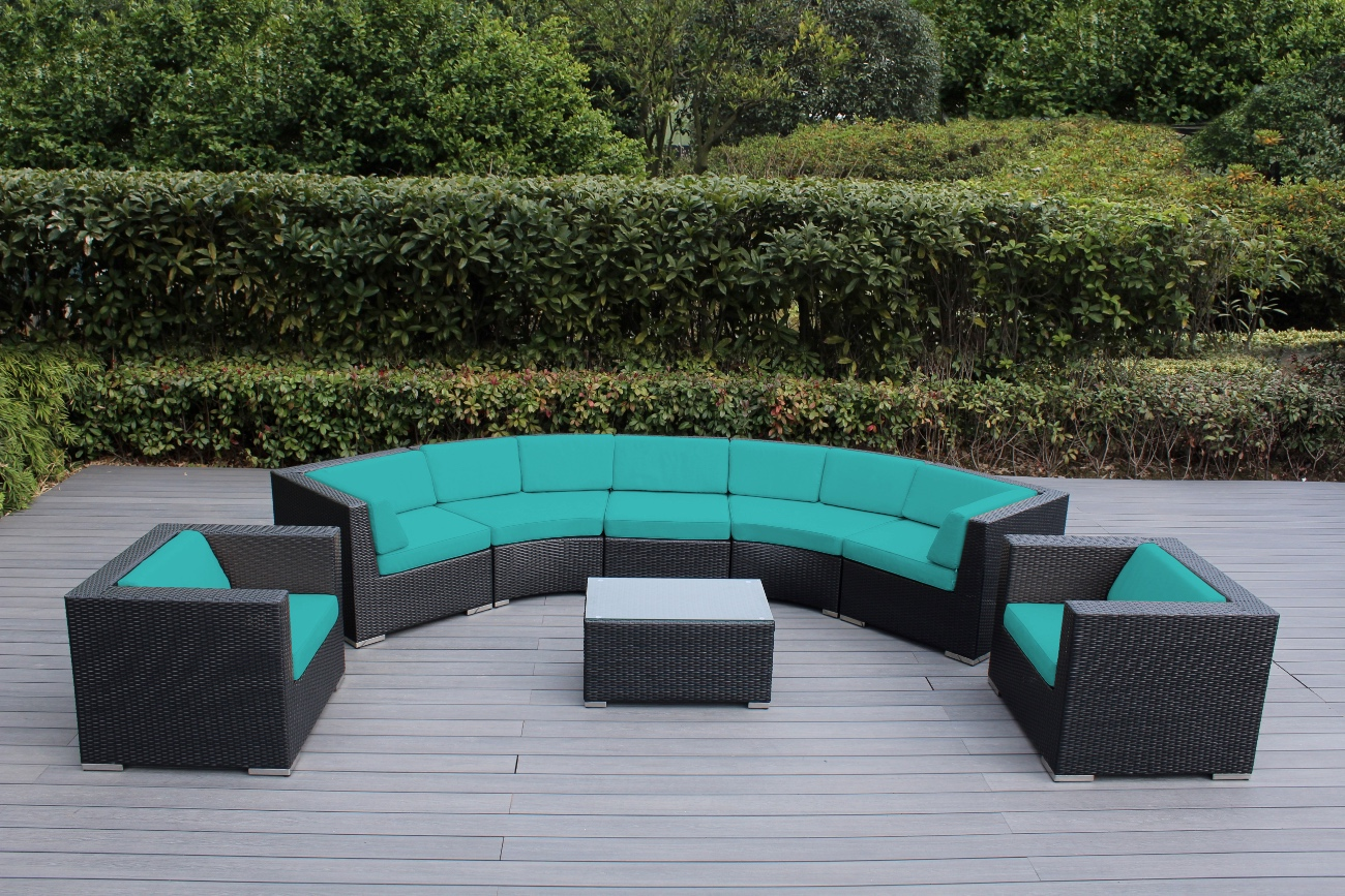 Ohana Wicker Furniture 8 Piece Curved Patio Seating Set