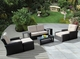 Ohana 9 Piece Outdoor Patio Wicker Furniture Sectional with Sunbrella Cushions