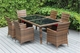 Ohana Outdoor Patio Wicker Furniture  Dining Set with 6 Chairs - Mixed Brown Wicker
