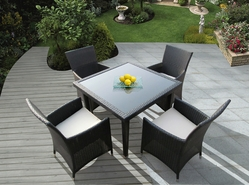 Ohana 5 Piece Outdoor Patio Wicker Furniture Dining Set