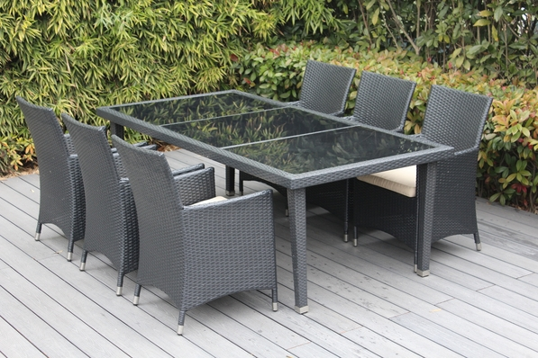 Ohana Outdoor Patio Wicker Furniture Dining Set - 6 Chairs