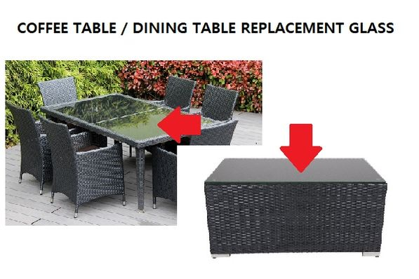 Ohana Outdoor Patio Wicker Furniture - Replacement Table Glass - Coffee/Dining Table