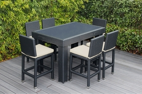 Ohana 7 Piece Outdoor Patio Wicker Furniture Bar Table Set with 6 Bar Stools