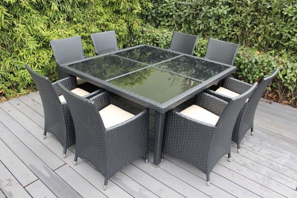 Ohana 9 Piece Outdoor Patio Wicker Furniture Dining Set - Square Dining Table