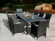 Ohana 34 Piece Outdoor Patio Wicker Furniture Sectional and Dining Set