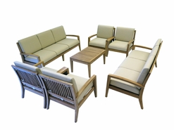 Ohana Outdoor Patio Teak Furniture 10-Seater Sofa Set
