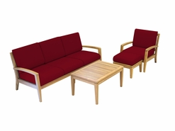 Ohana Outdoor Patio Teak Furniture 4-Seater Sofa Set