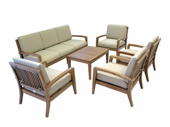 Ohana Outdoor Patio Teak Furniture 7-Seater Sofa Set