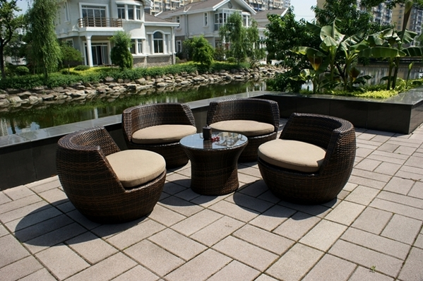 Ohana 5 Piece Outdoor Patio Wicker Furniture Conversation Set