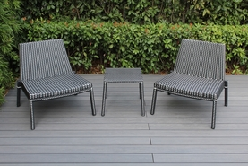 Outdoor 3 Piece  Outdoor Patio Wicker Furniture Bistro Set - Black & White Wicker - Now $399