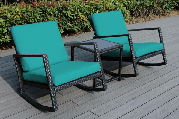 Ohana 3 Piece Outdoor Patio  Furniture Set with Rocking Chairs