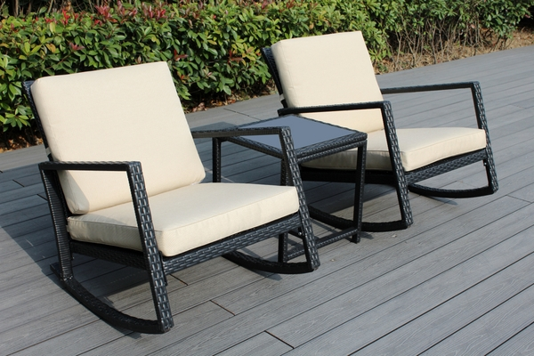 Ohana Patio Wicker Outdoor 3 Piece Rocking Bistro Set Two Chairs