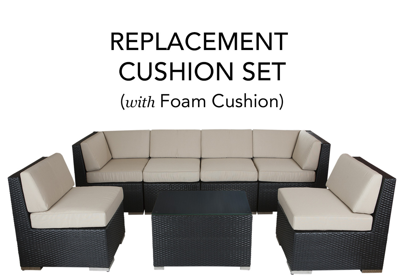 Ohana Outdoor Patio Replacement Cushion Set With Foam Inserts