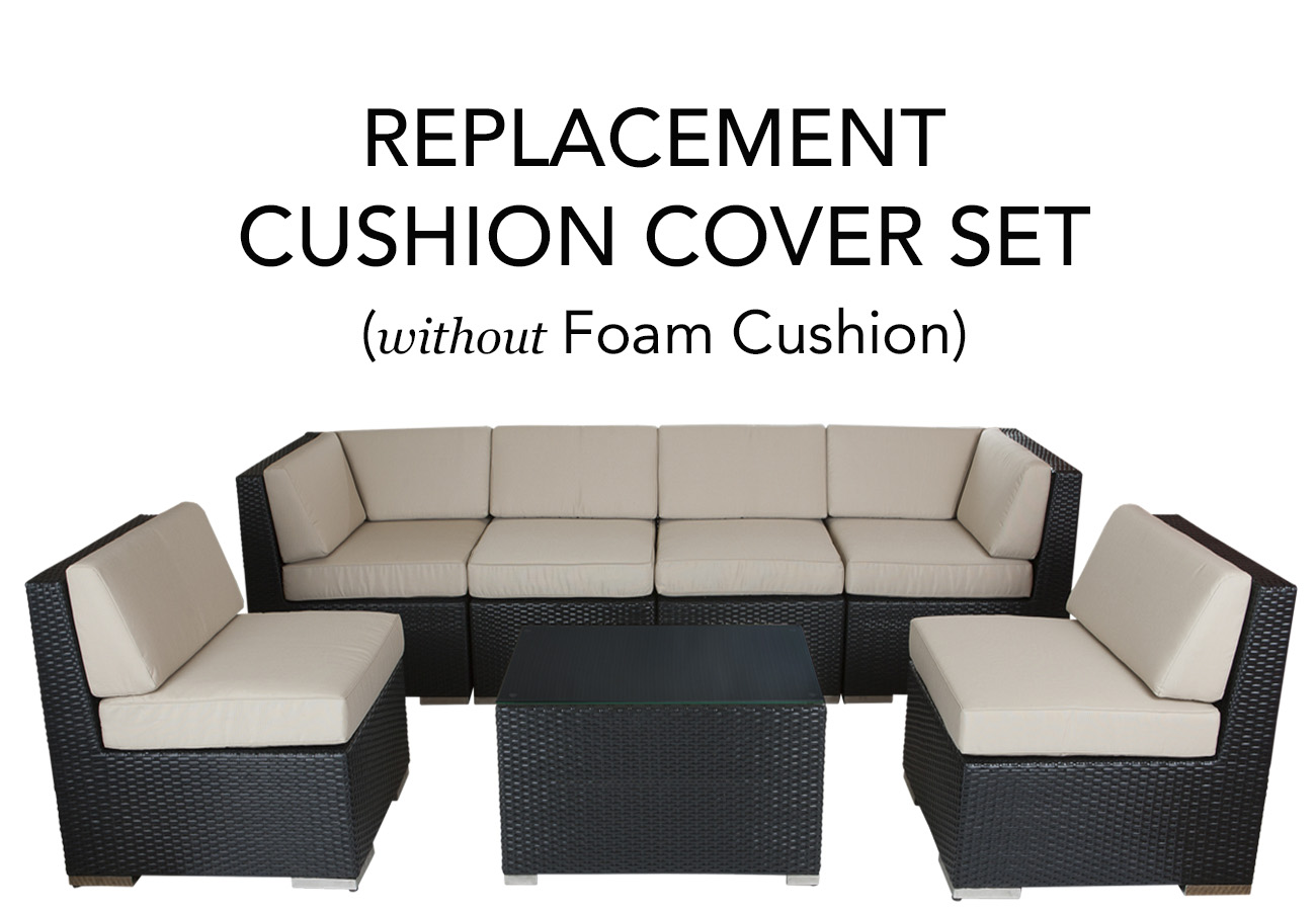 Ohana Outdoor Patio Replacement Cushion Cover Set Without Foam Inserts