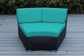Ohana Outdoor Patio Wicker Furniture Curved Deep Seating Chairs - SET OF TWO