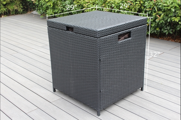 Outdoor Patio Wicker Furniture Cushion Storage Bin Deck Box