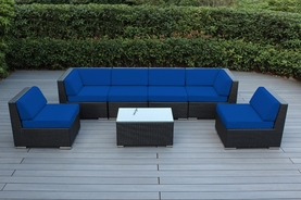 Limited Qty: Ohana Outdoor Patio Furniture 7-Piece Sectional Set - Pacific Blue