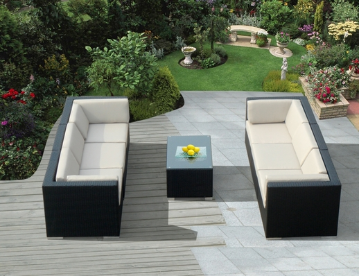 Ohana 7 Piece Outdoor Patio Wicker Furniture Sofa Set with Coffee Table