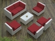 Ohana 7 Piece Outdoor Patio Furniture Conversation Set - White Wicker