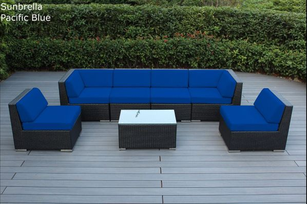 Limited Qty: Ohana Outdoor Patio Furniture 7-Piece Sectional Set - Pacific Blue & Navy