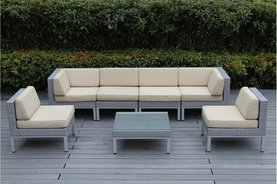NEW - Contemporary Collection 7 Piece Outdoor Patio Furniture Sectional Set