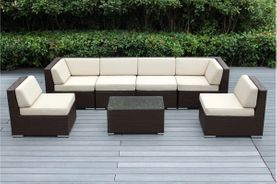NEW - Ohana Outdoor Patio Dark Brown Wicker Furniture 7-Piece Sectional Conversation Set - 15% Off Special