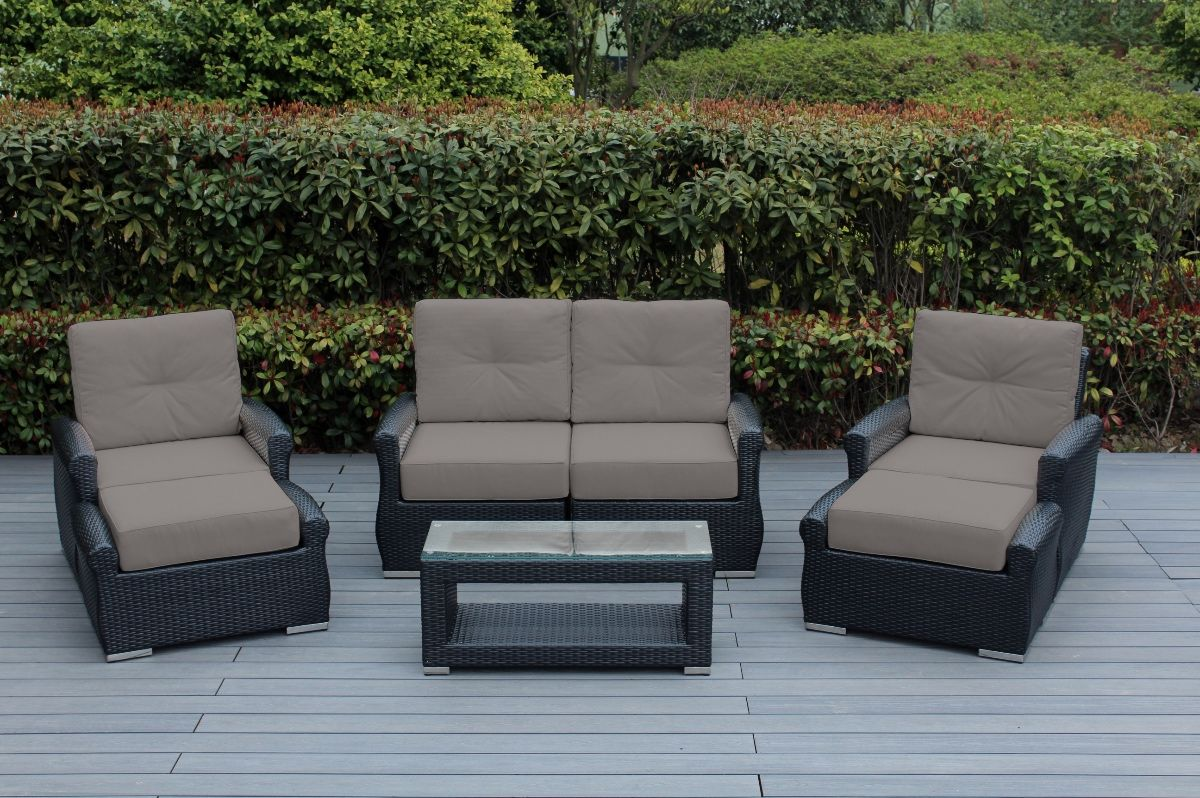 Outdoor Patio Couch Set, Ohana Outdoor Luxury Patio Wicker Furniture Sectional Sofa 7 Pc Set With Sunbrella Cushion