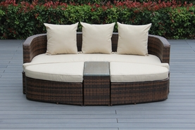 Ohana 4 Piece Outdoor Patio Wicker Furniture Daybed