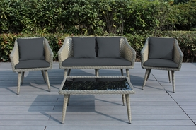 Ohana Sienna 4 Piece Wicker Patio Furniture Conversation Set