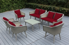 Ohana Sienna 7 Piece Wicker Patio Furniture Conversation Set