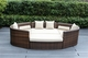 Ohana 4 Piece Outdoor Patio Wicker Furniture Daybed - Mixed Brown Wicker