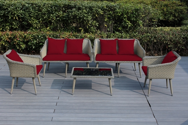 Ohana Sienna 5 Piece Wicker Patio Furniture Conversation  Set