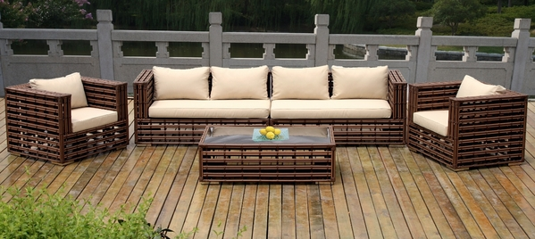 Ohana 5 Piece Outdoor Patio Wicker Furniture Resort Seating Set