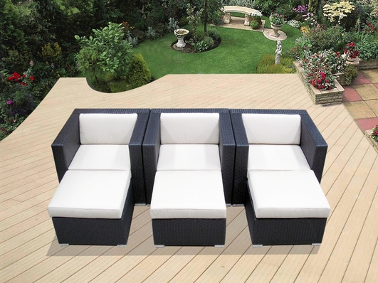 Ohana Outdoor Patio Wicker Furniture - Club Chairs with Ottoman - Set of Three