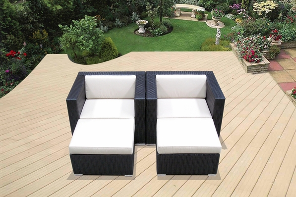 Ohana Outdoor Patio Wicker Furniture Club Chairs with Ottoman - Set of Two